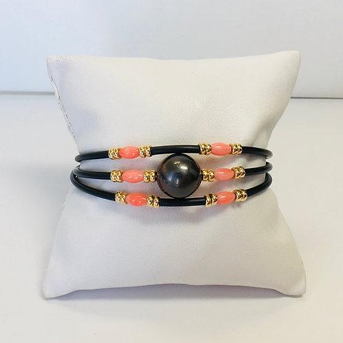 Dark Tahitian Pearl & Coral bracelet