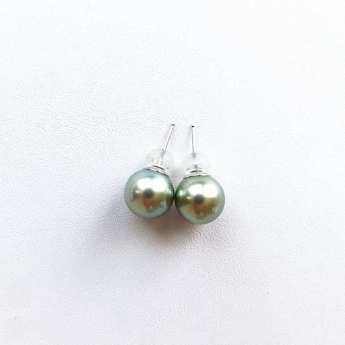 Pistachio Tahitian Pearl Stud Earrings, 9x9.5mm