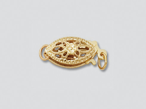 14K Yellow / White Gold fish filigree clasp