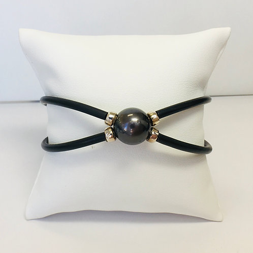 Dark Tahitian Pearl bracelet, cris cross