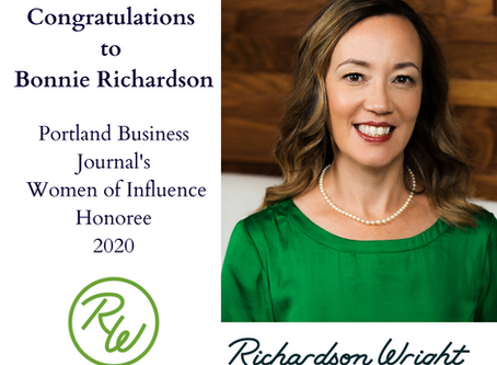 Bonnie Richardson Named Among Portland Business Journal's 2020 Women of Influence Honorees