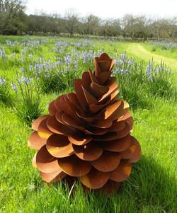 Large Rusty Steel Pine Cone.