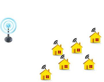 Базовая станция WiFi и частные дома подключенные к ней