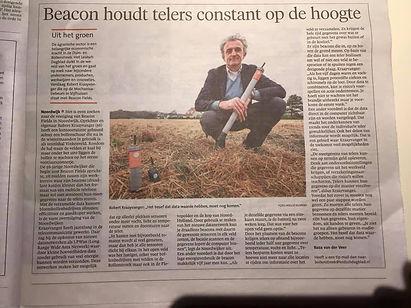 Leidsch Dagblad Robert Kraayvanger Beacon Fields vochsensoren temperatuursensoren bodemvochtigheid