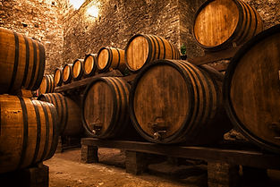 Cellar With Barrels For Storage Of Wine,