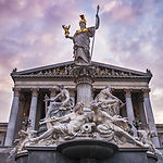 Athena statue in front of Parliament bui