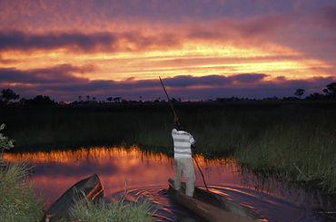 Man in a Makoro - Okavango Delta - Botsw
