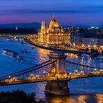 Budapest city at blue hour with illumina