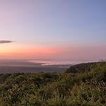 Morning glow against mountains backgroun