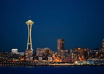 Seattle downtown with Space Needle iconi
