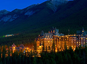 Banff Springs Hotel at night in the Cana