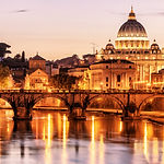 Night view of San Pietro (Saint Peter ba