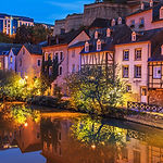 Cityscape of Luxembourg city in the even