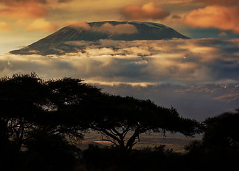Mount Kilimanjaro and clouds line at sun