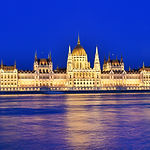 Budapest Parliament At Blue Hour Near Th