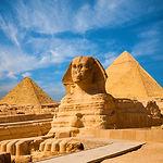Sphinx Full Body Blue Sky All Pyramids E