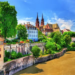 Old town of Basel with the cathedral abo