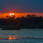 Beautiful Sunset over the Zambezi River,