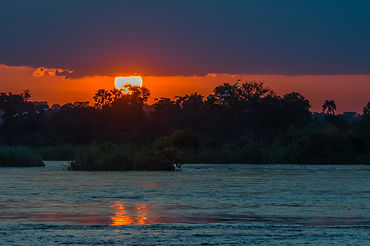 Beautiful Sunset over the Zambezi River,