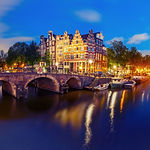 Amsterdam canal, bridge and typical hous