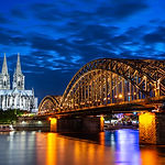 Night in Cologne at the river Rhine with