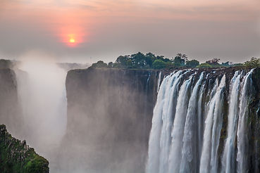 Victoria Falls sunset from Zambia side,
