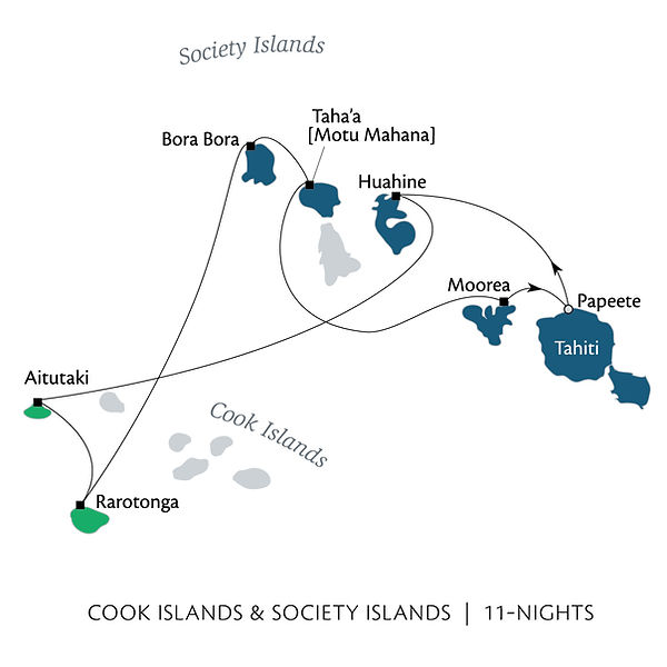 Society Islands & Cook Islands map