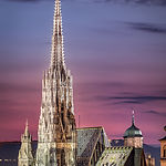 Vienna Skyline at night with St. Stephen