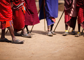 Group of masai people participating in t