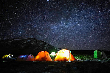 Camping in tents on mount Kilimanjaro at