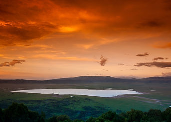 African sunset over the Ngorongoro Crate