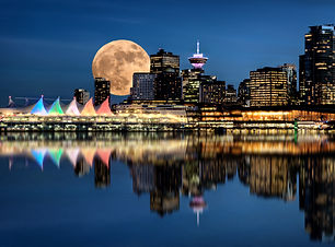 Vancouver Night Full Moon from Stanley P