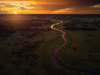 Sunset, aerial, atmospheric view on curv