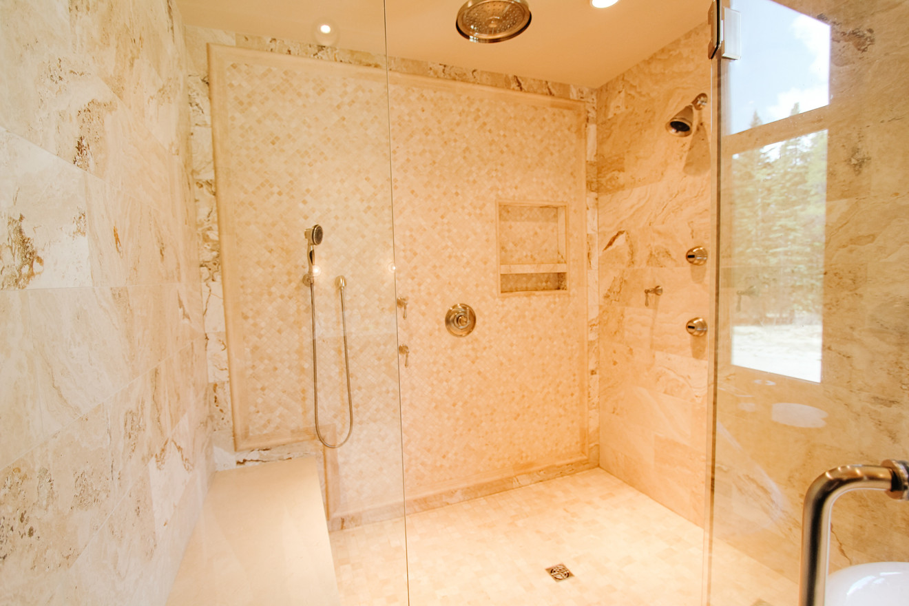 Priddis Log Home Master Shower, Room Service Interiors, A Boutique Design Studio