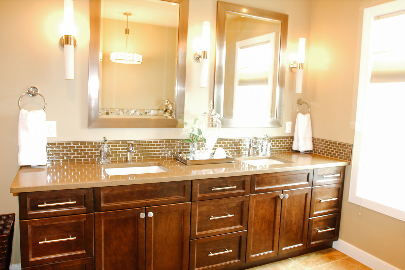 Master bath custom double vanity spa designed by Room Service Interiors in Cochrane and Calgary AB