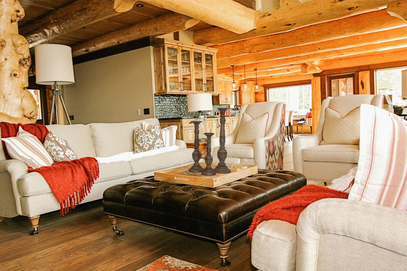 Priddis Log Home Great Room, Room Service Interiors, A Boutique Design Studio