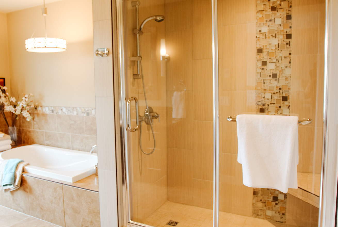Glenbow Master Bath Spa Shower with Bench, Room Service Interiors, A Boutique Design Studio