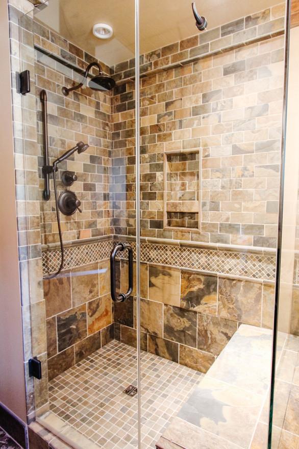 Priddis Log Home Guest Bath, Room Service Interiors, A Boutique Design Studio