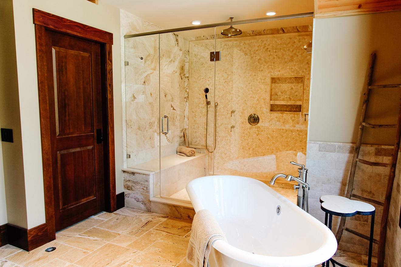 Priddis Log Home Master Bathroom, Room Service Interiors, A Boutique Design Studio