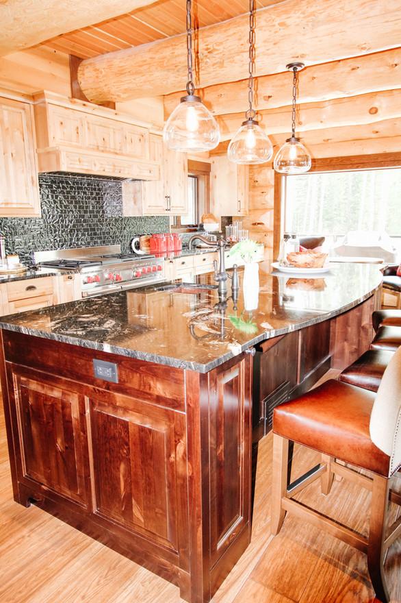 Priddis Log Home Kitchen, Room Service Interiors, A Boutique Design Studio