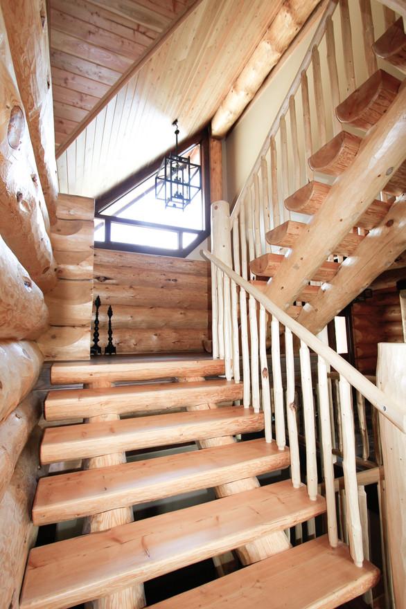 Priddis Log Home Stairs, Room Service Interiors, A Boutique Design Studio