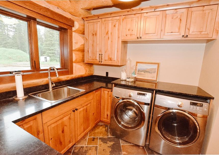 Priddis Log Home Laundry, Room Service Interiors, A Boutique Design Studio