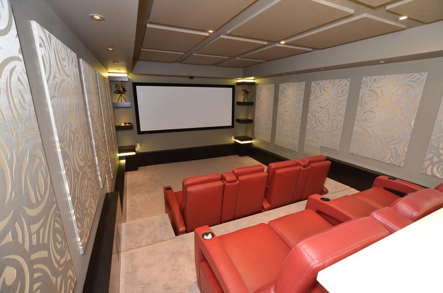 Bearspaw Ridge Basement Theatre, Room Service Interiors, A Boutique Design Studio