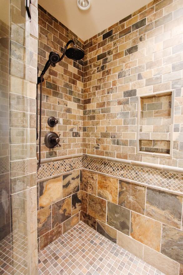 Priddis Log Home Guest Shower, Room Service Interiors, A Boutique Design Studio