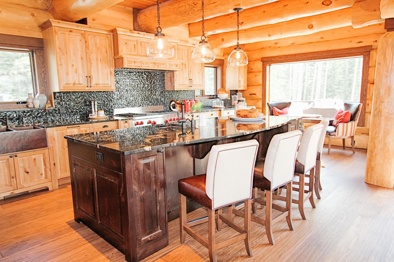 Priddis Log Home Kitchen Island, Room Service Interiors, A Boutique Design Studio