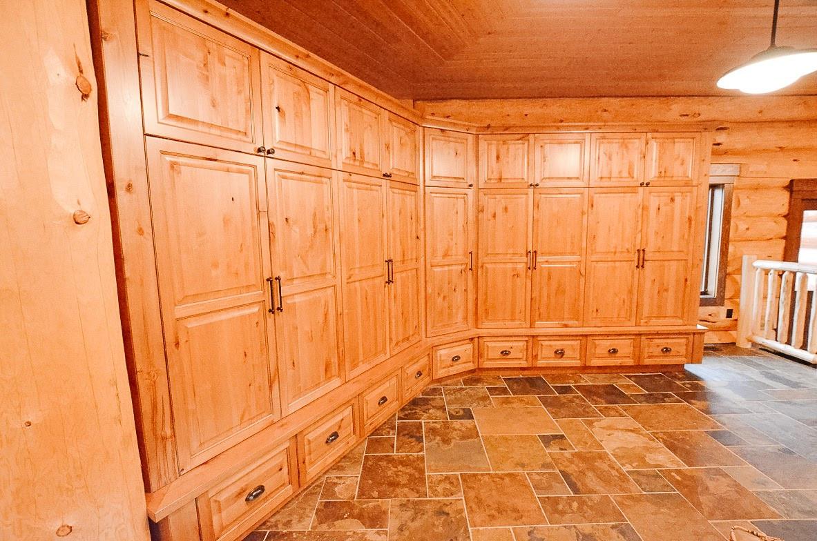 Priddis Log Home Mud Room, Room Service Interiors, A Boutique Design Studio