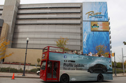 double decker bus in front of Rivers Casino