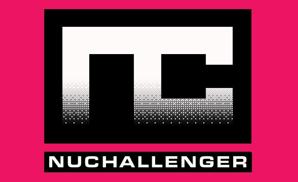 """The logo for video game studio, NuChallenger. The logo is a letters N and C in block writing in a white to black and pixelated vertical gradient on a pink background the words """"NuChallenger"""" are at the bottom, white lettering in a black box."""