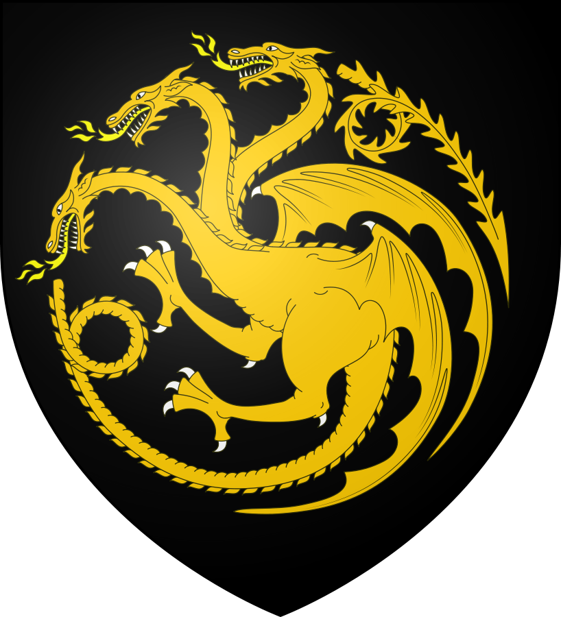 """The shield banner of Aegon II Targaryen. Aegon rode a gold dragon named """"Sunfyre,"""" which he then translated onto his own banner, swapping out the traditional red dragon of House Targaryen with a gold dragon on a black field."""