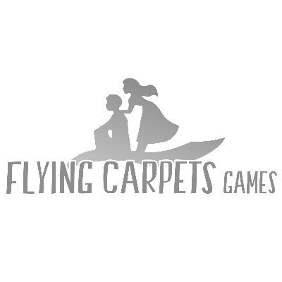 The logo for Flying Carpet games, an independent video game studio. The logo is a man sitting on a flying carpet with a woman standing over him on the carpet, her hands on his shoulders. The name of the studio is at the bottom, under the flying carpet.